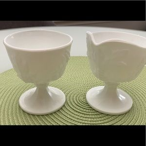 Other - Grapes & Leaves Milk Glass Creamer and Sugar Set